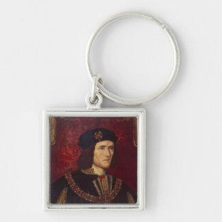 Portrait du Roi Richard III Porte-clé Carré Argenté