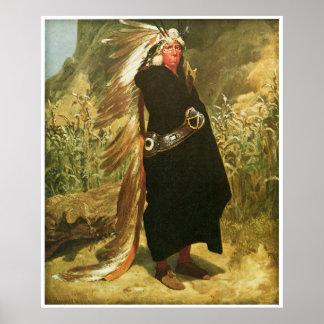 Portrait d'un chef indien par Valentine Bromley Poster