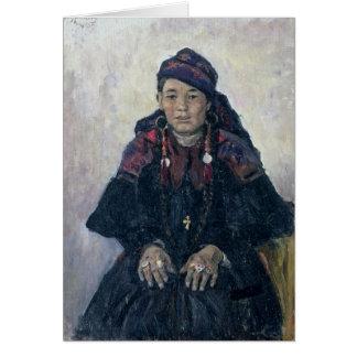 Portrait d'un Cosaque Woman, 1909 Carte De Vœux