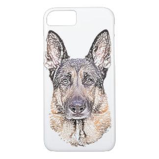 Portrait d'un croquis coloré de chien de berger coque iPhone 7