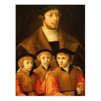 Portrait d'un homme et de ses trois fils carte postale