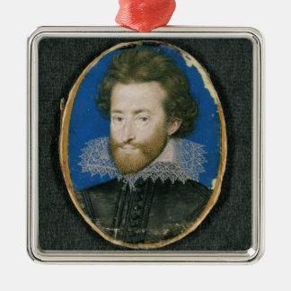 Portrait d'un homme inconnu ornement carré argenté