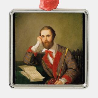 Portrait d'un homme ornement carré argenté
