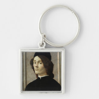Portrait d'un homme porte-clé carré argenté