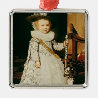 Portrait d'un jeune garçon ornement carré argenté