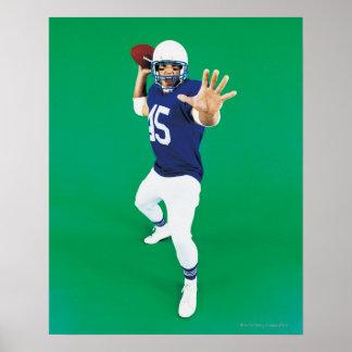Portrait d'un joueur de football américain affiche