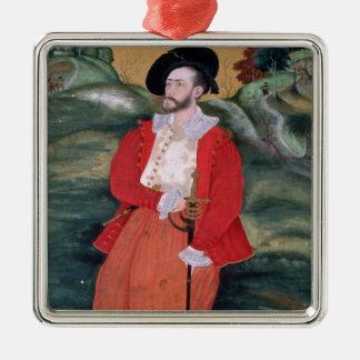 Portrait d'un marin européen, c.1590 ornement carré argenté