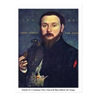 Portrait d'un monsieur avec un faucon carte postale