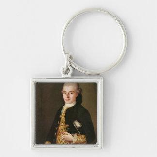 Portrait d'un monsieur avec une boutonnière de ros porte-clé carré argenté