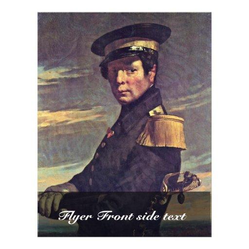 Portrait d'un officier de la marine par le millet  prospectus en couleur