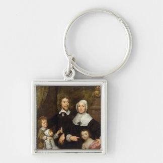 Portrait d'une famille, probablement celui de stre porte-clé carré argenté