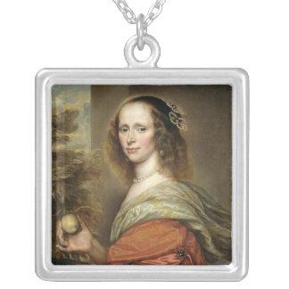 Portrait d'une femme 2 pendentif carré
