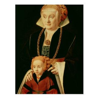 Portrait d'une femme avec sa fille carte postale