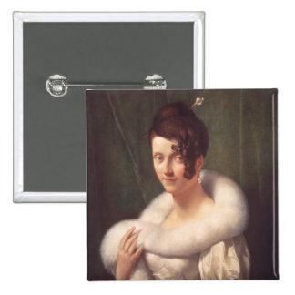 Portrait d'une femme avec une goupille de cheveux pin's