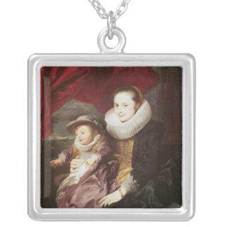 Portrait d'une femme et d'un enfant pendentif carré