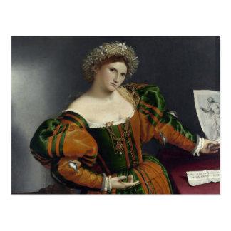 Portrait d'une femme inspirée par la carte postale