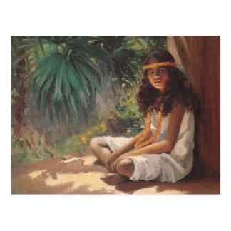 Portrait d'une fille polynésienne - Hélène T. Carte Postale