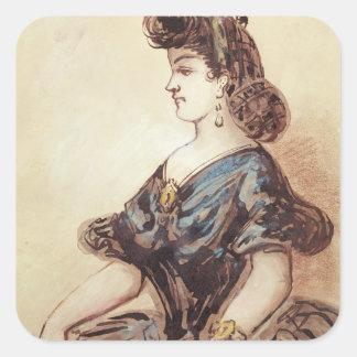 Portrait en buste d'une femme sticker carré