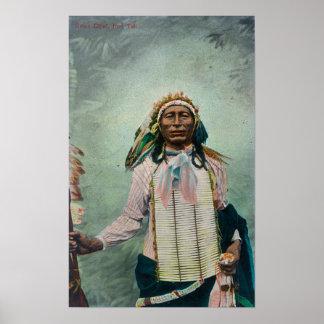 Portrait en chef de queue de fer de Sioux Poster