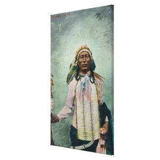 Portrait en chef de queue de fer de Sioux Toile Tendue Sur Châssis