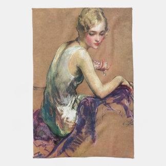 Portrait en pastel serviettes pour les mains