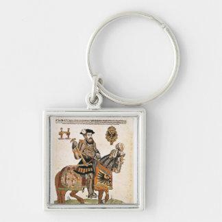 Portrait équestre de Charles V dans l'armure Porte-clé Carré Argenté
