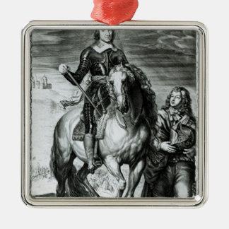 Portrait équestre d'Oliver Cromwell Ornement Carré Argenté