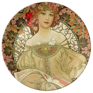 Portrait femelle Alphonse Mucha Assiette En Porcelaine