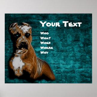 Portrait grunge de Pitbull Terrier d'Américain Posters