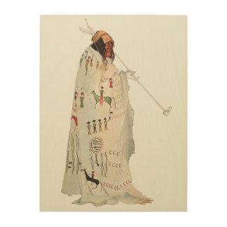 Portrait guerrier indien avec le tuyau par Karl Impression Sur Bois