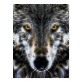 Portrait inspiré de loup de région boisée carte postale