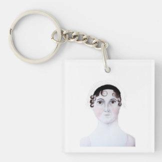 Portrait keychain. d'aquarelle de Jane Austen Porte-clé Carré En Acrylique Double Face