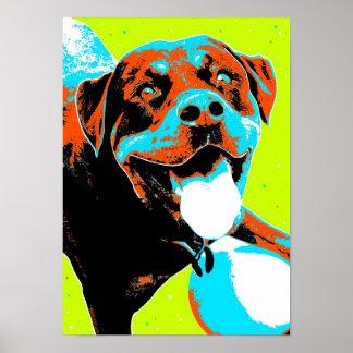 Portrait lumineux et d'amusement de rottweiler affiche