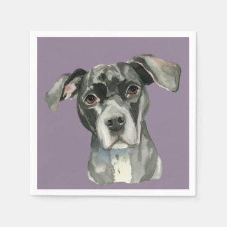 Portrait noir d'aquarelle de chien de pitbull serviettes jetables