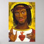 Portrait noir de Jésus Posters