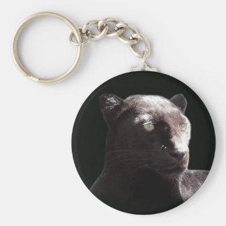 Portrait noir de léopard porte-clé rond