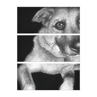 Portrait noir et blanc de chien peint à la main toiles