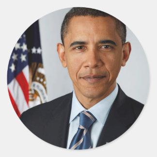 Portrait officiel du Président Barack Obama Sticker Rond