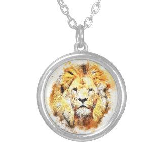 Portrait peint de lion collier