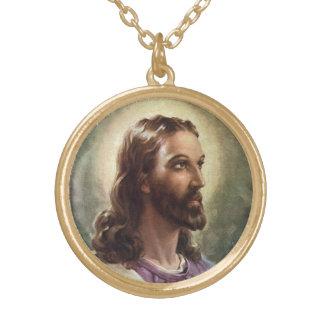 Portrait religieux vintage, Jésus-Christ avec le Collier Plaqué Or