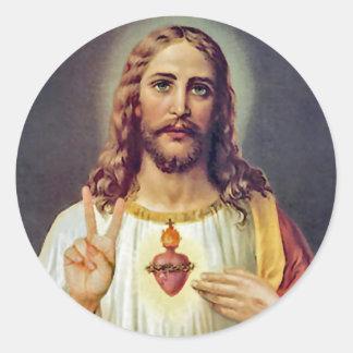 Portrait sacré de signe de paix de coeur de Jésus Sticker Rond