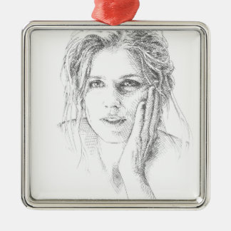 Portrait tiré par la main classique ornement carré argenté