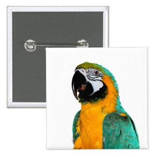 portrait turquoise d'oiseau de perroquet d'ara pin's