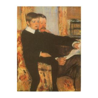 Portrait vintage de famille de père et de fils par impression sur bois