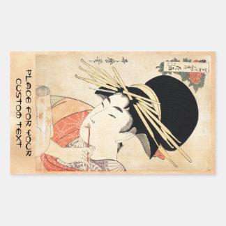 Portrait vintage japonais frais de geisha d'ukiyo- autocollants en rectangle
