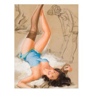 Pose du Pin de fille vers le haut de l'art Carte Postale