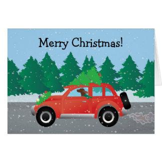 Poseur irlandais conduisant une voiture avec un carte de vœux