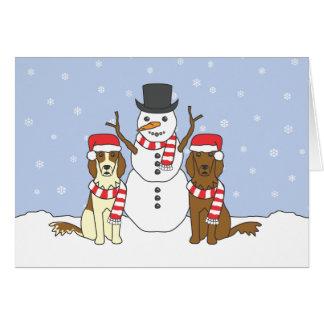 Poseurs irlandais et bonhomme de neige carte de vœux