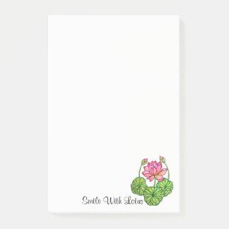 Post-it® Aquarelle Lotus rose avec les bourgeons et le