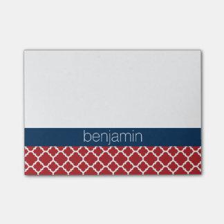 Post-it® Bébé bleu blanc rouge de motif de Quatrefoil